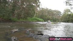 Hairy amateur girl fingered in a dangerous rafting...