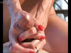 Jerking a cock until it cums cowgirl