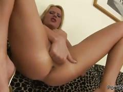 Big tits blonde fisting herself on the couch