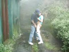 Desi teen archana sucking,fucking hard by bf in moaning  in rainy garden