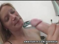 Busty amateur wife full blowjob with cumshot on her tits