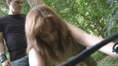 Slave girl prisoner and chained in the woods experiences bdsm pleasures