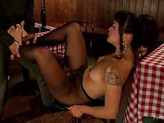 Romantic dinner turns into sensual footjob