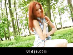 Wicked old forester fucks redhead teen