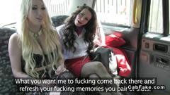 Two hoes anal threesome in a fake taxi fuck the driver