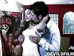 babe, deepthroat, kissing, brunette, natural boobs, movie parody, devil's film parodies, fame digital, chris johnson, jenna haze