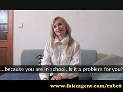 Fakeagent anal creampie for blonde student