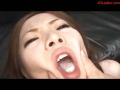 Office lady getting her mouth and pussy fucked on the...