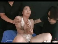Tied asian sucking and getting toyed
