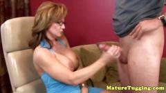 Big tits milf wrestles a big boner