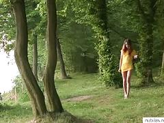Shy teen fingers twat outdoors