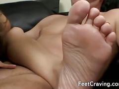Hot girl with sexy feet in hot moaning action