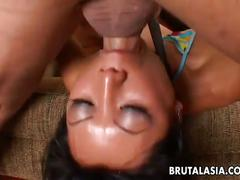 Sexy asian gets drilled hard and deep on the couch