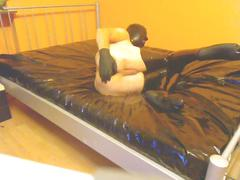 Latex blindfolded ass stretching piss drinking masturbation