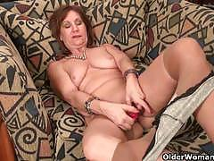 Busty moms strips naked for having pussy fun time.
