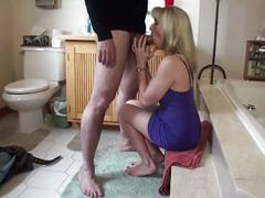 Quickie bathroom blow-job