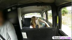 Hot blonde passenger suck cock for a free ride in the cab