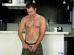 Cameron jerking his big cock in kitchen