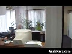 Broke arab fucks in an office for money