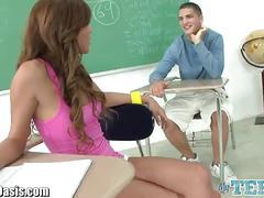 Teen slut sucks and gets fucked hard