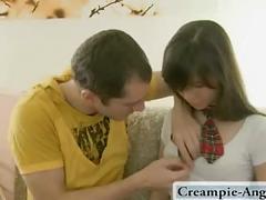 amateur, toys, teen, brunette, blowjob, creampie, creampie-angels.com, couple, european, young