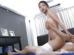 big tits, babe, japanese, stockings, kissing, oiled, brunette, hairy pussy, cock riding, pov jp, all japanese pass, satomi suzuki