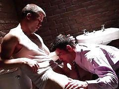 Jimmy and billy fuck in the office washroom