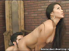 babe, rimjob, blowjob, brunette, asian interracial, cock biting, ball biting, brutal ball busting, fetish network, lana violet