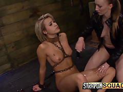 blonde, bdsm, lesbians, babe, dildo, oiled, in chains, bondage cage, strapon squad, fetish network, marina angel, riley ray