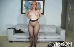 Curvy blonde mature nina hartley play in pantyhose