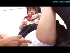 Cute schoolgirl getting her nipples sucked pussy...