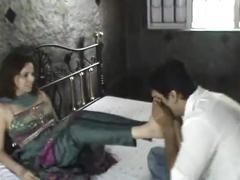 Indian model in churidar foot worship
