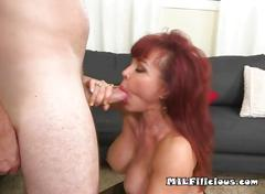Pretty milf christina sucks and fucks her sons friend
