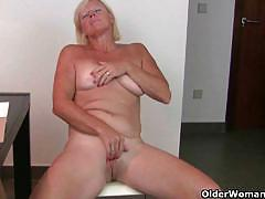 Horny mature ladies enjoys fingering pleasure.