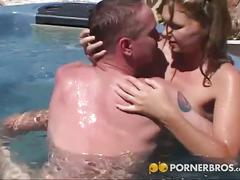 Hot blonde teen gets fucked by the poolside