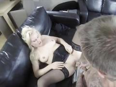 Blonde in pantyhose stretched her ass for ass fuck