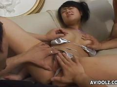 Asian lass in bikini finger fucking and sucking