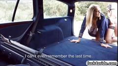Blonde stewardess picked up for a backseat boning