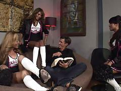 Three trannies fuck a guy @ best of transsexual cheerleaders