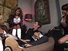 Three trannies fuck a guy @ best of transsexual cheerleaders