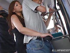 Reacharound by japanese slut on the train