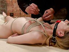 milf, blonde, bdsm, vibrator, tied up, ropes, clothespins, stick with dildo, ball gagged, hogtied, kink, emma haize, sgt. major