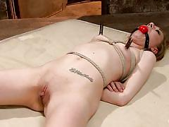 Slim blonde tied and dildo fucked