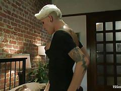 Blonde tranny fucks her man after dinner