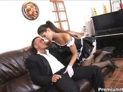 Naughty spanish maid licks pussy and gets fucked.