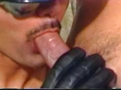 Cop with his helmet sucking big hard cock