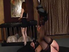 fetish, tube8.com, redhead, brunette, lingerie, big booty, ass slapping, bondage, collar, femdom, nylons, heels, leather