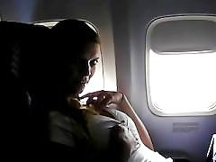 Girl on public plane masturbating by twistedworlds