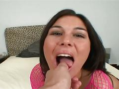 Huge throbbing cocks gang fucking amateur brunette in stockings