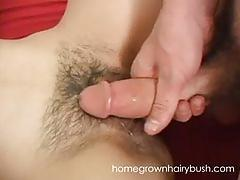 Homegrownhairybush's larissa spreads her hairy pussy to get fucked